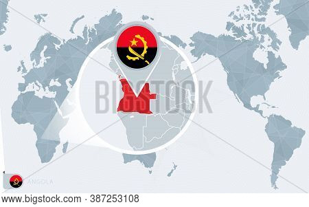 Pacific Centered World Map With Magnified Angola. Flag And Map Of Angola On Asia In Center World Map