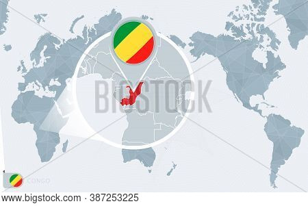 Pacific Centered World Map With Magnified Congo. Flag And Map Of Congo On Asia In Center World Map.