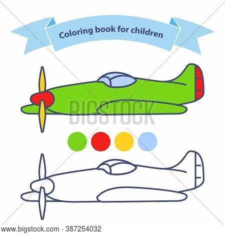 Old Military Aircraft Fighter American Coloring Book For Children.