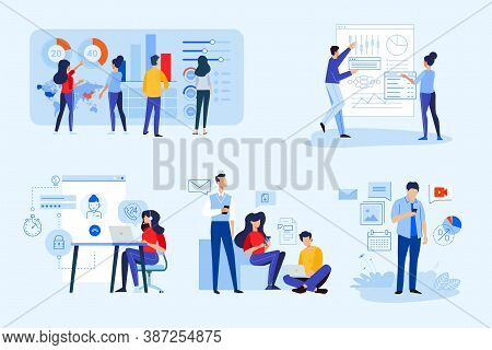 Set Of Business People Concepts. Vector Illustrations Of Market Research, Global Trending, Technical