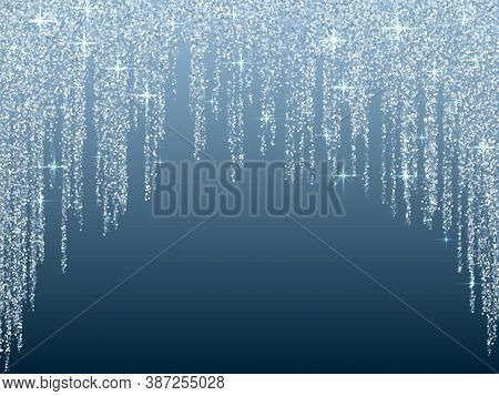 Silver Blue Glitter Texture Lines Christmas Abstract Background. Closeup Shimmer Grains Illustration