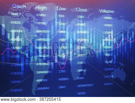 Global Economy Concept. Financial Graphs Of Currency Exchange And Economics Statistics Charts Over B
