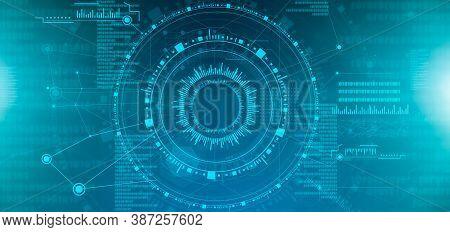 Abstract Technology Background With Hi-tech Digital Interface Infographic And Binary Code, Website B