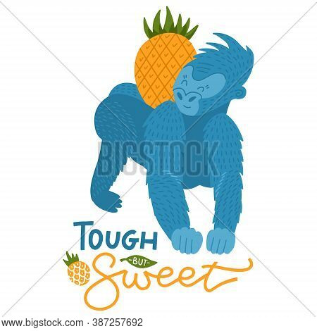 Cartoon Gorilla With Pineapple Fruit Isolated On White Background. Colorful Print For Kids And Child