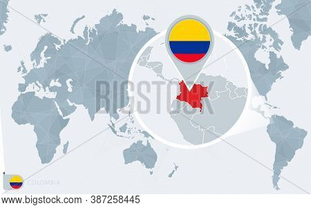 Pacific Centered World Map With Magnified Colombia. Flag And Map Of Colombia On Asia In Center World