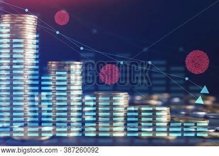 Global Economics Financial Crisis. Decreasing Money Coins Columns And Financial Data Graphs Over Blu