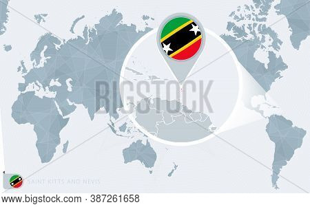 Pacific Centered World Map With Magnified Saint Kitts And Nevis. Flag And Map Of Saint Kitts And Nev