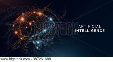 Conceptual Illustration For Artificial Intelligence Concept. Digital Human Brain Shaped With Colorfu