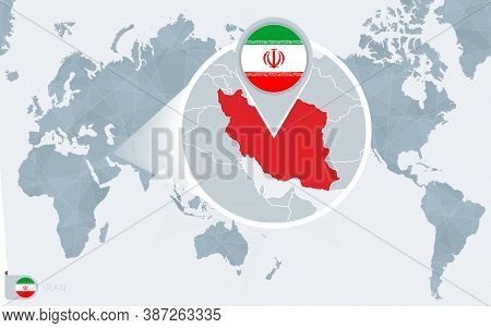 Pacific Centered World Map With Magnified Iran. Flag And Map Of Iran On Asia In Center World Map.
