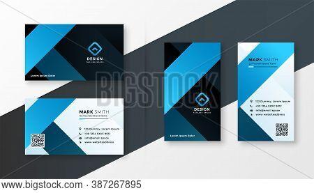 Modern Blue Theme Business Card Template Design Set