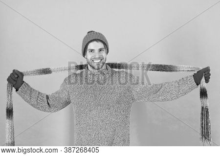 Warm Up Chilly Days With Cosy Scarf. Happy Man Wear Long Scarf. Handsome Guy Smile With Scarf In Han