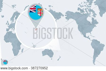 Pacific Centered World Map With Magnified Fiji. Flag And Map Of Fiji On Asia In Center World Map.