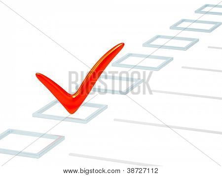 CheckBox mit roter Punkt. Isolated over white