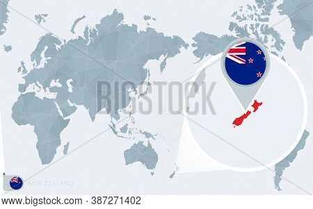 Pacific Centered World Map With Magnified New Zealand. Flag And Map Of New Zealand On Asia In Center