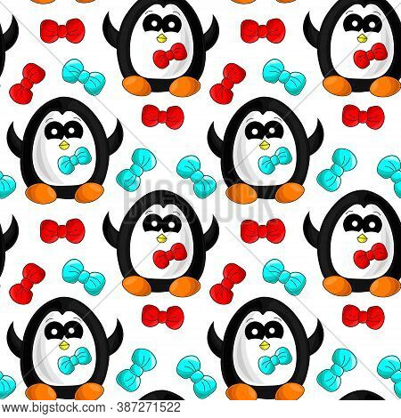 Seamless Vector Pattern With Penguin And Bow Tie