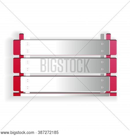 Paper Cut Wooden Box Icon Isolated On White Background. Grocery Basket, Storehouse Crate. Empty Wood