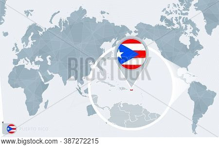 Pacific Centered World Map With Magnified Puerto Rico. Flag And Map Of Puerto Rico On Asia In Center