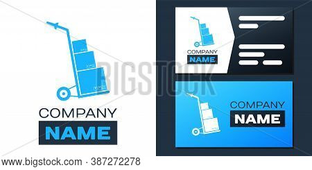 Logotype Hand Truck And Boxes Icon Isolated On White Background. Dolly Symbol. Logo Design Template