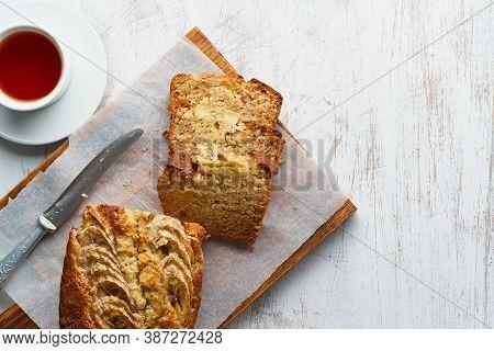 Banana Bread. Cake With Banana, Traditional American Cuisine.