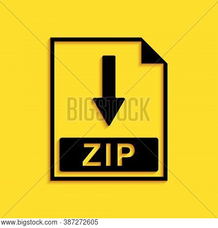 Black Zip File Document Icon. Download Zip Button Icon Isolated On Yellow Background. Long Shadow St