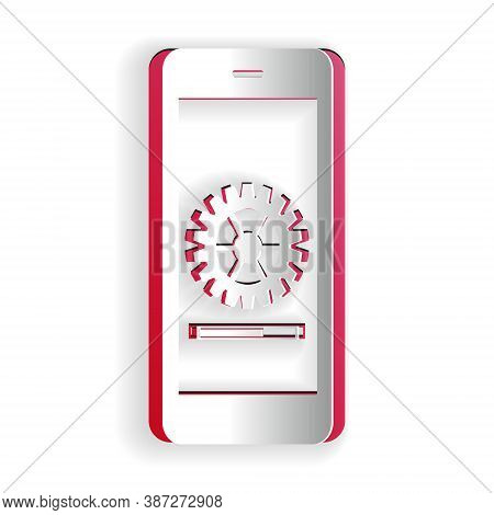 Paper Cut Smartphone Update Process With Gearbox Progress And Loading Bar Icon Isolated On White Bac