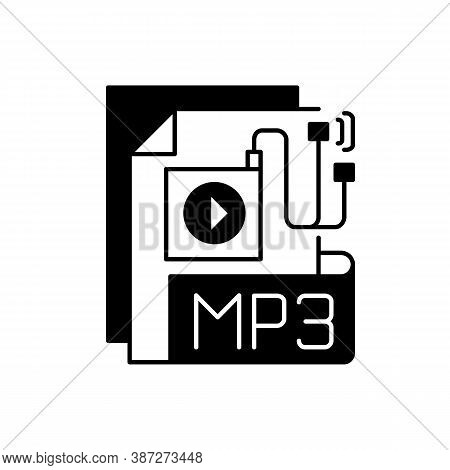 Mp3 Audio File Black Linear Icon. File Extension. Downloading Song. Storing Music. Lecture, Audioboo
