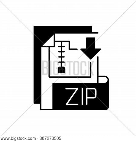 Zip File Black Linear Icon. Lossless-compression Binary File Format. Encryption, Packaging, File Man