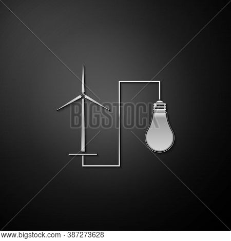 Silver Wind Mill Turbine Generating Power Energy And Bulb Icon Isolated On Black Background. Natural