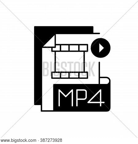 Mp4 File Black Linear Icon. Digital Multimedia Container Format. Video, Audio And Text Storing. Mpeg