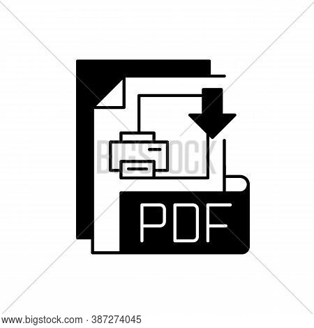 Pdf File Black Linear Icon. Portable Document Format. Text Formatting And Images, Multimedia Element