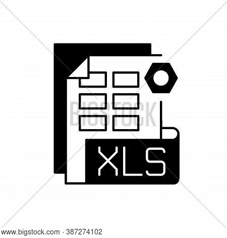 Xls File Black Linear Icon. Binary File Format. Spreadsheet Programs. Workbook Files. Xlsx Extension