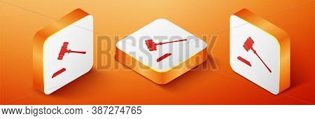 Isometric Judge Gavel Icon Isolated On Orange Background. Gavel For Adjudication Of Sentences And Bi