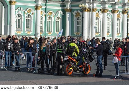St Petersburg, Russia-september 26, 2020: Stunt Rider On His Bike After Demonstration. Annual Festiv