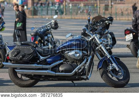St Petersburg, Russia-september 26, 2020: Blue Suzuki M50 Motorcycle On The City Streets During Annu