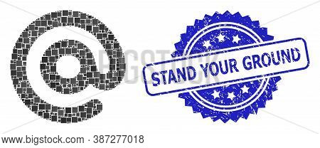 Vector Collage Email Symbol, And Stand Your Ground Corroded Rosette Seal. Blue Stamp Seal Has Stand