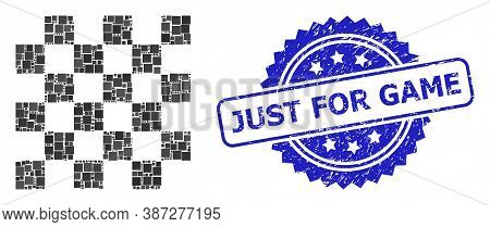 Vector Collage Chess Board, And Just For Game Textured Rosette Stamp Seal. Blue Stamp Seal Has Just
