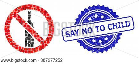 Vector Mosaic Forbidden Alcohol, And Say No To Child Scratched Rosette Stamp Seal. Blue Stamp Seal I