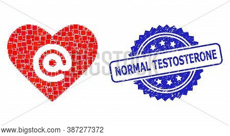 Vector Collage Dating Heart Address, And Normal Testosterone Corroded Rosette Seal Print. Blue Stamp