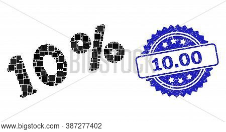 Vector Mosaic 10 Percents, And 10.00 Corroded Rosette Stamp. Blue Stamp Seal Includes 10.00 Tag Insi