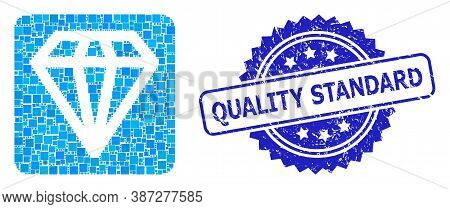 Vector Collage Diamond, And Quality Standard Dirty Rosette Seal. Blue Seal Includes Quality Standard