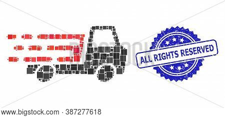 Vector Collage Delivery Car Chassi, And All Rights Reserved Scratched Rosette Stamp Seal. Blue Stamp
