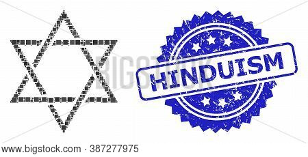 Vector Mosaic David Star, And Hinduism Grunge Rosette Stamp. Blue Stamp Seal Includes Hinduism Tag I