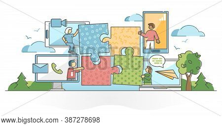 Virtual Teamwork With Distant Online Assistance And Collaboration Together Outline Concept. Partners