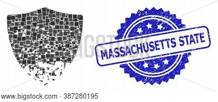Vector Collage Damaged Shield, And Massachusetts State Grunge Rosette Stamp Seal. Blue Stamp Seal Ha