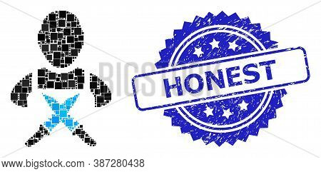 Vector Mosaic Butchery Worker, And Honest Textured Rosette Seal Imitation. Blue Seal Has Honest Tag