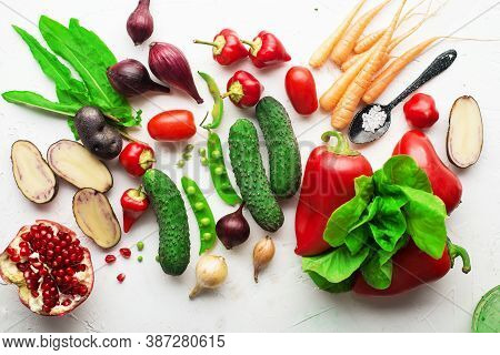 Fresh Vegetables, Herbs, Green Leafy Salads On A White Background. Farmers Harvest Organic Natural P