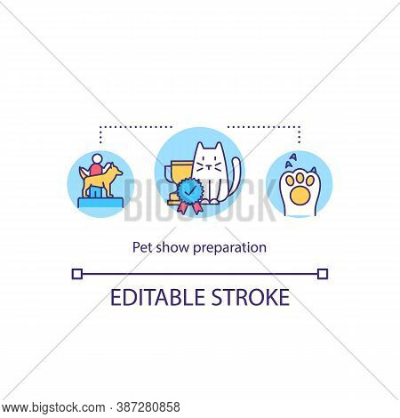 Pet Show Preparation Concept Icon. Grooming And Clipping Animal For Exhibition Idea Thin Line Illust