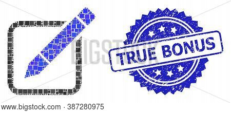 Vector Collage Edit Pencil, And True Bonus Unclean Rosette Seal Imitation. Blue Stamp Seal Includes
