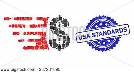 Vector Collage Dollar, And Usa Standards Rubber Rosette Stamp. Blue Stamp Includes Usa Standards Tag