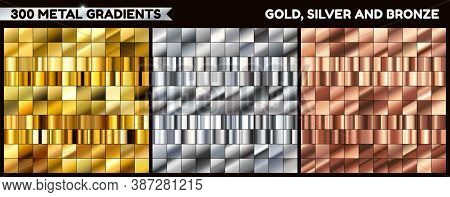 Collection Of Gold, Chrome And Bronze Metal Gradients For Design Vector Collection